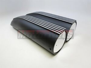 Black Aluminum Finned Shotgun Intake Air Hood Scoop Single Dual Carb 4 Bbl