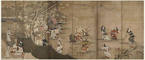 Japanese Screen Painting Samurai Beautiful Woman Merrymaking By Kano Naganobu
