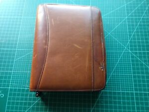 Day timer Brown Leather Classic Desk Zipper Planner Daytimer Franklin Covey