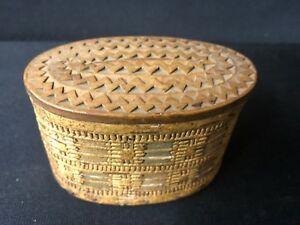 Early American Birch Bark Chip Carved Covered Oval Pantry Box Ca 1900