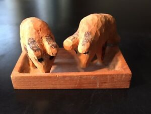 Vintage Folk Art Hand Carved Wood Pigs In Trough Signed Dated 1979 Primitive