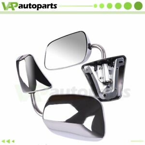 Pair Fits Chevy Blazer Gmc C k Suburban Pickup Truck Chrome Manual Side Mirrors