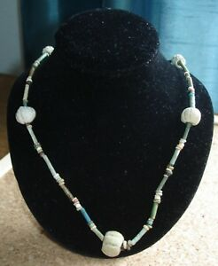 Authentic Ancient Egyptian Faience Melon Bead Necklace Restrung And Wearable
