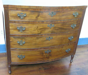Antique Mahogany Swell Front Chest Of Drawers
