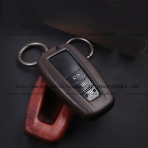Luxury Real Sandalwood Car Key Remote Cover Shell Case Fit For Toyota Prado 2018