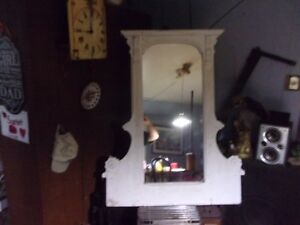 Old Large Dresser Mirror In Good Condition White