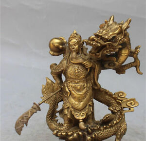 China Fengshui Bronze Guan Gong Yu Warrior God Sword Stand In Dragon Statue 10