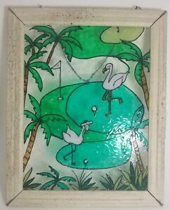Vintage Flamingo Stained Glass Panel