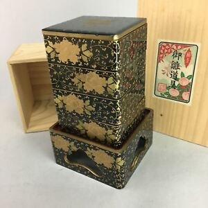 Japanese Hina Doll Miniature Furniture Vtg Wood Lacquer Lunch Bento Jubako Id193