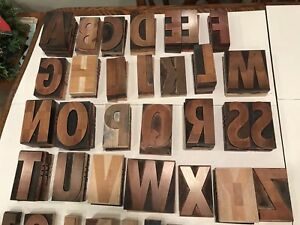 5 Wood Letterpress Type Capital Letters Numbers And Punctuation