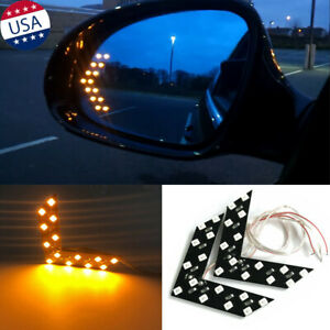 2x Amber 14 Smd Led Arrow Panel Car Rear View Mirror Indicator Turn Signal Light