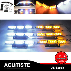 54 Led Amber White Car Emergency Warning Strobe Hazard Light For Deck Dash Grill