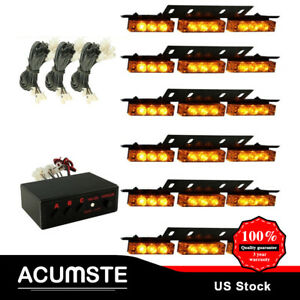 54led Amber Yellow Car Emergency Warning Strobe Hazard Light Bar Deck Dash Grill