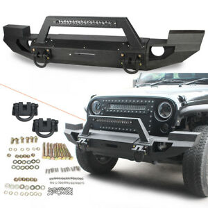 Full Width Front Bumper With Led Light Bar For 2007 2018 Jeep Wrangler Jk