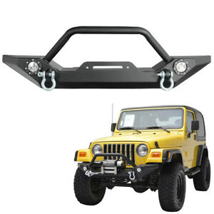 Rock Crawler Front Bumper Led Lamp Winch Plate Fit Jeep Wrangler Tj Yj 87 06 Car
