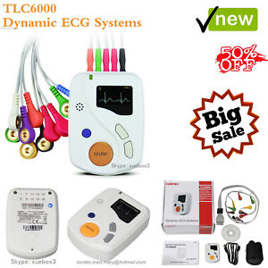 Portable Dynamic Ecg Recorder 48h Holter 12 Lead Analyzer Pc Software Ce Tlc6000