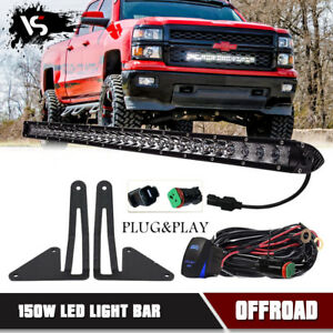 150w 30 Led Light Bar Combo W Behind Grille Bracket wiring For Chevy Silverado