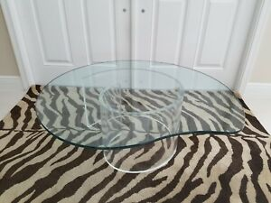 Kagan Style Mid Century Modern Coffee Table Lucite Snail Base Glass Top