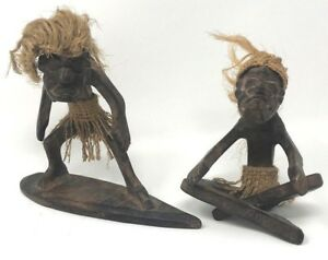Set Of 2 Vtg Figurines Carved Surfers Tiki Beach Wooden Burlap Hair Hawaiian