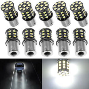 Set Of 10 Pure White 1156 Rv Trailer 2835 33 Smd Led 1141 Interior Light Bulbs