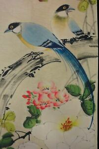 Four Pieces Very Large Beautiful Old Chinese Paper Painting Flowers Marks