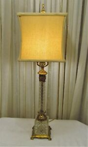 Antique Vintage L L Usa Wmc Cut Crystal Brass Table Lamp
