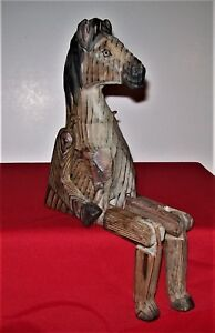 Old Hand Carved Wood Folk Art Articulated Sitting Horse Sculpture Quality