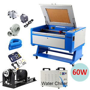 60w Co2 Usb Laser Engraver Cutting Machine 700x500mm W Water Chiller Cnc Rotary