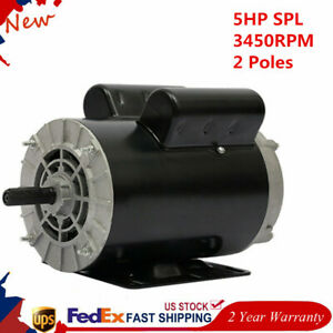 5hp Spl 1 Phase 3450rpm Electric Air Compressor 60hz Heavy Duty Motor 5 8 Shaft