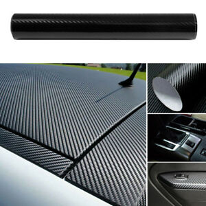 Us Car Accessories 5d Carbon Fiber Vinyl Wrap Black Sticker Glossy Decal 12x60