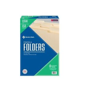 Member s Mark File Folders By Smead 1 3 Cut Assorted Tabs Legal Size 150 Ct