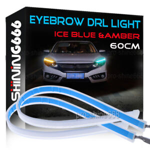 60cm Led Switchback Car Headlight Sequential Drl Light Strip Tube Ice Blue Amber