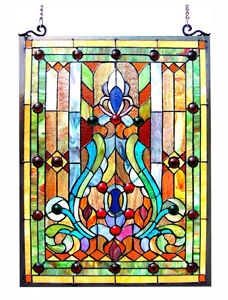 Stained Glass Vintage Victorian Design Tiffany Style Window Panel 18 W X 25 T