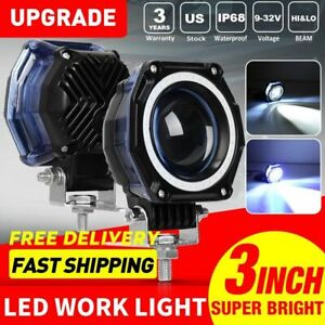 2x 3inch 70w Led Driving Light Blue Drl Offroad Truck Front Bumper Fog Lamp 4