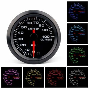 2 52mm Car Oil Pressure Gauge 7 Color Led Electronic Meter Psi Oil Press Sensor