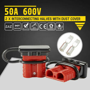 2pcs 50a Battery Quick Connect Disconnect 600v Plug Dust W Cover Charger 2 Pole