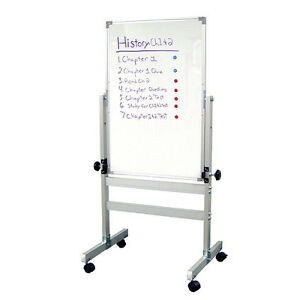 Two Sided Dry Erase Whiteboard Stand Rolling Easel Large Magnetic Message Board