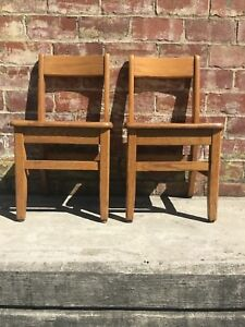 2 Vintage Solid Oak Childs Primary School Classroom Library Chair 14 Seat
