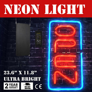 Bright 23 6 x11 8 Vertical Neon Open Sign 30w Led Light Business Red And Blue