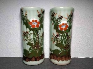 Rare Antique Chinese Porcelain Celadon Pair Wall Vases W Flowers