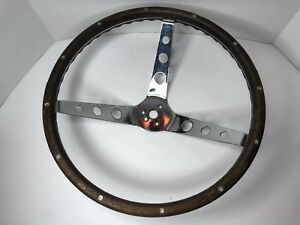 Vintage Superior Wood Rim Custom Steering Wheel Old School Hot Rod Muscle Car