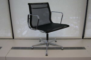 200 Icf Eames Aluminum Group Side Chair With Black Mesh