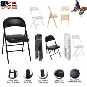 Foldable Lmitation Leather Chair Portable Commercialine Padded Folding Seats Us