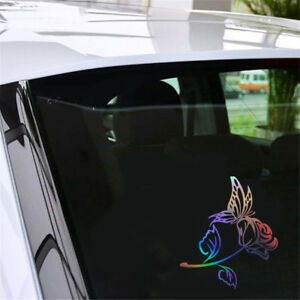 Butterfly Rose Vinyl Decal Car Window Door Bumper Laptop Wall Sticker Home Decor