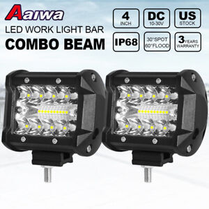 2pcs 4 Inch 200w Led Work Light Spot Flood Pods Driving Off Road Tractor Boat