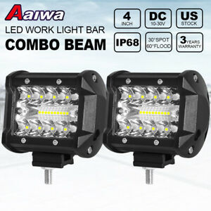 2pcs 4 Inch 200w Led Light Bar Spot Flood Pods Lights Off Road Tractor 4wd 12v