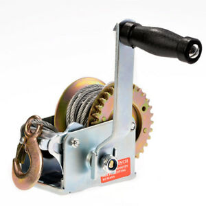 New Heavy Duty Hand Winch 600 Lbs Hand Crank Strap Gear Winch Atv Boat Trailer