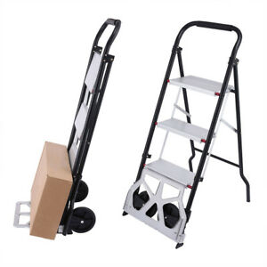 2in1 Trolley And Ladder Folding 3 step Steel Frame Plastic Stool With Hand Grip