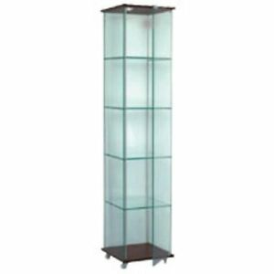 Black Based Glass Tower Display W 4 Adjustable Glass Shelves 15 3 4 Wx15 3 4