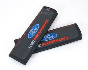 Car Seat Belt Shoulder Pads Covers Black Leather For Ford Performance Embroidery
